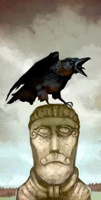 Аватар вконтакте Каркающий черный ворон сидит на голове каменного истукана на фоне пасмурного неба