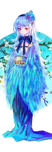 Аватар вконтакте Девушка с голубыми цветами в волосах