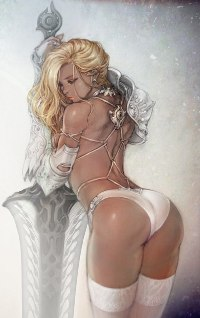 Аватар вконтакте Сексуальная блондинка с огромным мечом