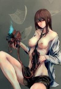 Аватар вконтакте Полуобнаженная девушка-киборг с раскрытым телом