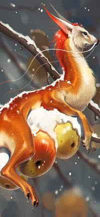 Аватар вконтакте Дракон лежит на зимних яблоках, by GaudiBuendia