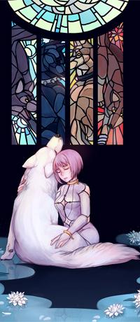 Аватар вконтакте Чеза / Cheza и Киба / Kiba в образе белого волка, персонажи из аниме Волчий дождь / Wolfs Rain, by Sangcoon