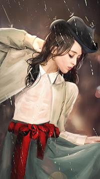 Аватар вконтакте Девушка в черной шляпке под дождем, автор Jackie Felix