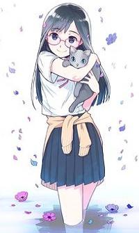 Аватар вконтакте Девочка в форме держит на руках котенка