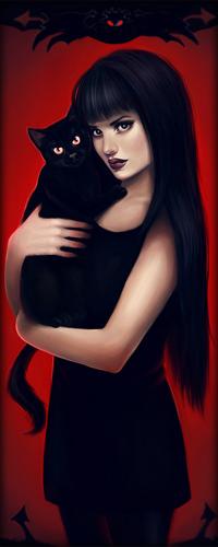 Аватар вконтакте Emily / Эмили с черной кошкой на руках, персонаж из мультфильма Emily the strange / Странная Эмили, by Anna Marine