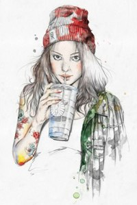 Аватар вконтакте Портрет девушки в шапке с напитком на белом фоне