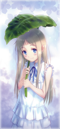 Аватар вконтакте Meiko Honma / Мэйко Хонма из аниме Ano Hi Mita Hana no Namae wo Bokutachi wa Mada Shiranai / Невиданный цветок, держит в руках большой зеленый лист