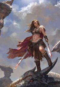 Аватар вконтакте Воительница с двумя окровавленными мечами на убитом драконе