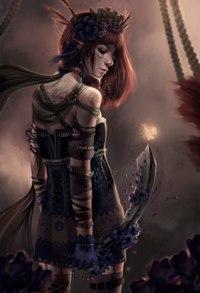 Аватар вконтакте Девушка-разбойница с кинжалом в руке любуется светлячком