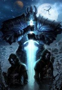 Аватар вконтакте Огромный воин в латах со светящимся мечом со своими помощниками