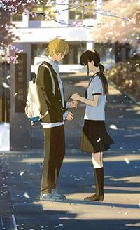 Аватар вконтакте Девушка и парень на фоне школы, автор Loundraw