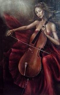 Аватар вконтакте Девушка с виолончелью, художник Katie Betlemidze