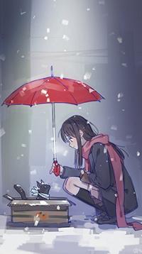 Аватар вконтакте Хиери Ики / Hiyori Iki сидит под зонтом у коробки с котенком из аниме Бездомный бог / Noragami, автор Ton E2