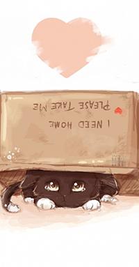 Аватар вконтакте Котенок под коробкой с надписью, автор RinRinDaishi (I need home, please take me / Я нуждаюсь в доме, пожалуйста, возьми меня)