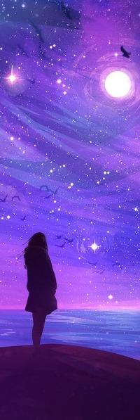 Аватар вконтакте Девушка смотри на луну