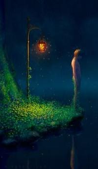 Аватар вконтакте Парень стоит недалеко от фонаря перед водоемом