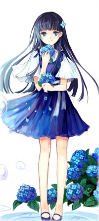 Аватар вконтакте Sanka Rea / Санка Рея из аниме Санкарея / Sankarea, держит в руках соцветия гортензии