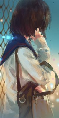Аватар вконтакте Девушка в школьной форме стоит у сетки