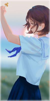 Аватар вконтакте Девушка с цветком в руке на фоне заката