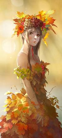 Аватар вконтакте Девушка в костюме из осенних листьев