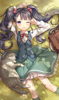 Аватар вконтакте Девушка лежит на земле с котом