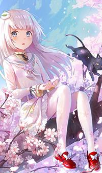 Аватар вконтакте Девушка сидит на ветке с цветами, рядом на нее запрыгивает кот, by 干物A太