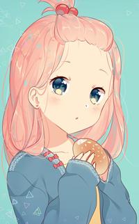 99px.ru аватар Розововолосая девушка с булочкой в руках, by rimuu