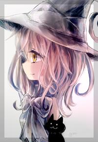 Аватар вконтакте Ведьмочка и черный котенок, by 小猫まり
