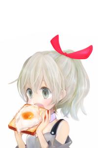 Аватар вконтакте Девочка ест бутерброд с яйцом, by 小猫まり