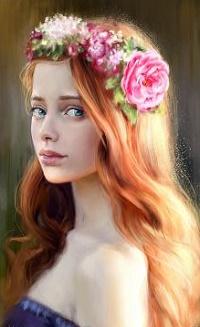 Аватар вконтакте Рыжеволосая девушка в венке из цветов