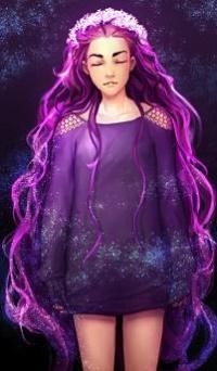 Аватар вконтакте Девушка с длинными фиолетовыми волосами в венке, by Lapis-Razuri