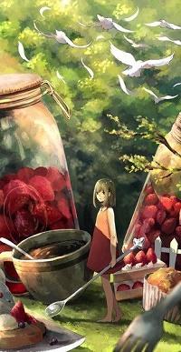 Аватар вконтакте Девочка стоит с ложечкой перед чашкой и баночками с ягодами