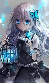 Аватар вконтакте Девушка держит клетку, из которой вылетают яркие синие бабочки