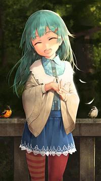 Аватар вконтакте Хатсуне Мику мило улыбается, рядом на заборе сидят птички, Vocaloid Hatsune Miku / Вокалоид Хатсуне Мику