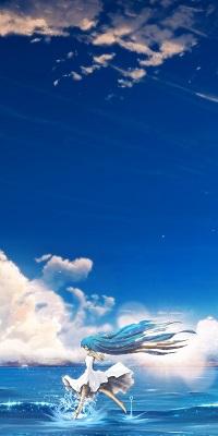 Аватар вконтакте Vocaloid Miku Hatsune / Вокалоид Мику Хатсуне бежит по воде на фоне неба