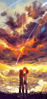Аватар вконтакте Taki Tachibana и Мицуха Миямизу / Miyamizu Mitsuha целуются на фоне неба из аниме Твое имя / Your Name / Kimi no Na wa, art by Makoto Shinkai