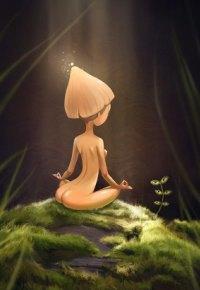 Аватар вконтакте Миниатюрная обнаженная девушка в шляпке гриба медитирует на камне с мохом