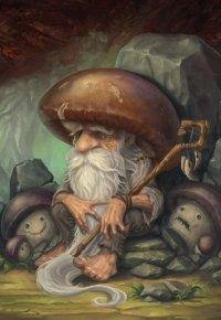 Аватар вконтакте Дедушка-гриб с посохом сидит в пещере
