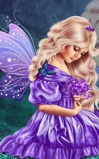 Аватар вконтакте Девушка с крылышками с бабочкой на плече держит цветы в руках