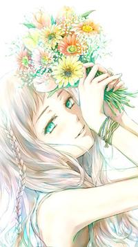 Аватар вконтакте Девушка держащая букет цветов над головой, автор Nuwanko