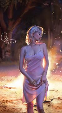 Аватар вконтакте Девушка в полупрозрачном платье на фоне костра, автор Miss Funny
