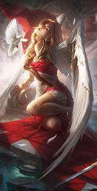 Аватар вконтакте Девушка-ангел в красном одеянии, автор Artcraft -studio