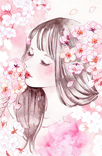 Аватар вконтакте Девушка окруженная цветами сакуры