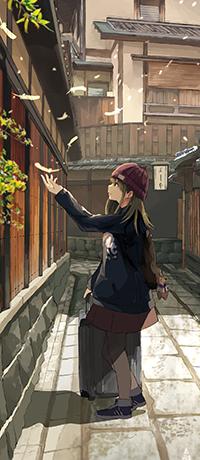 Аватар вконтакте Девушка с чемоданом подносит руку к перу, автор Akira