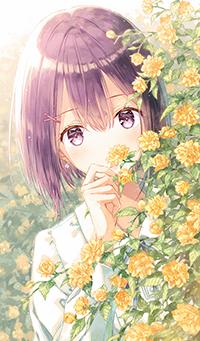 Аватар вконтакте Девушка выглядывает из за куста желтых цветов, автор Hiten Goane Ryu