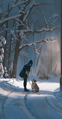 Аватар вконтакте Девушка гуляющая с собакой, автор Snatti