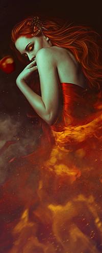 Аватар вконтакте Девушка перед яблоком в огне