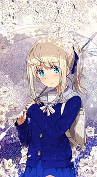 Аватар вконтакте Девушка-школьница по прозрачным зонтом, автор Оgipote