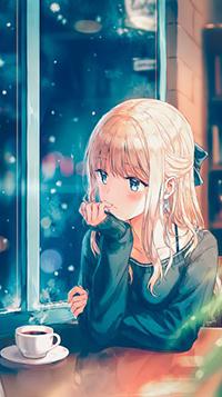 Аватар вконтакте Девушка с кружкой кофе на столе, автор Hiten Goane Ryu