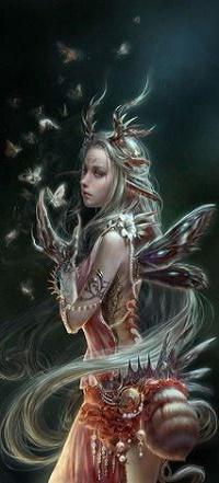 Аватар вконтакте Девушка с рогами стоит перед бабочками